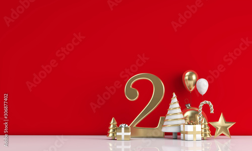 Foto auf Leinwand Individuell The 12 days of christmas. 2nd day festive background. 3D Render