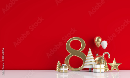 Foto auf Leinwand Individuell The 12 days of christmas. 8th day festive background. 3D Render