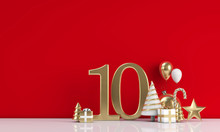 The 12 Days Of Christmas. 10th Day Festive Background. 3D Render