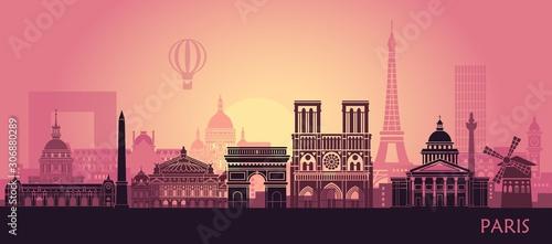 Fotografie, Obraz Stylized landscape of Paris with Eiffel tower, arc de Triomphe and Notre Dame Ca