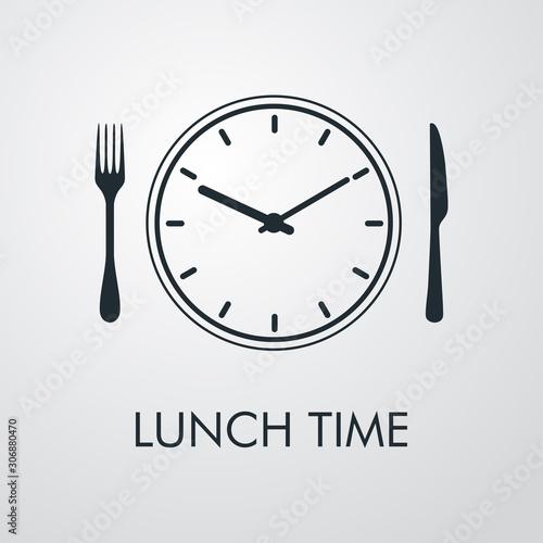 Logotipo con texto Lunch Time. Icono plano lineal con reloj con cubiertos en fondo gris