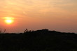canvas print picture - sunset in the mountains/dunes Den Haag kijkduin