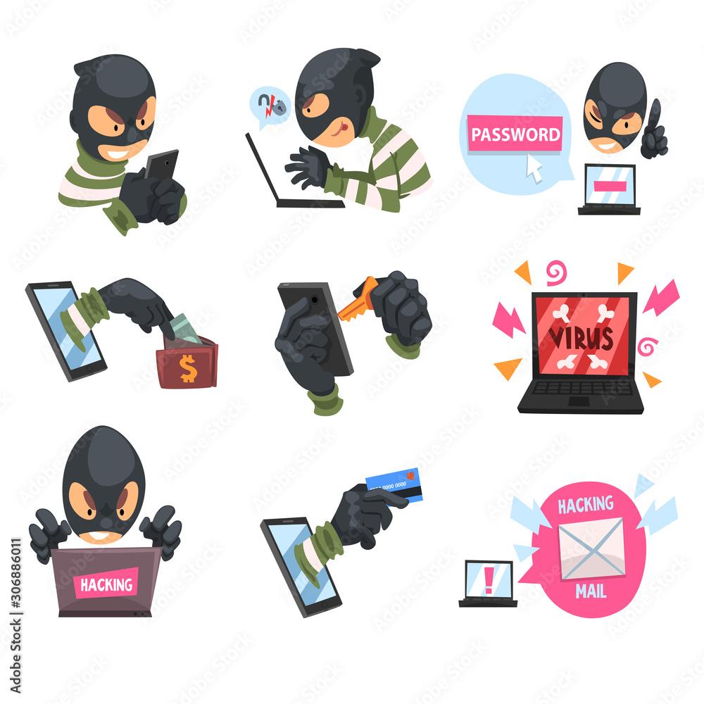 Fototapeta Cartoon hackers at work. Set of vector illustrations.