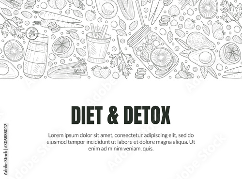 Cover for detox and diet. Vector illustration.