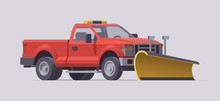 Snow Plowing Truck. Snow Removal. Salt Spreader. Vector Illustration