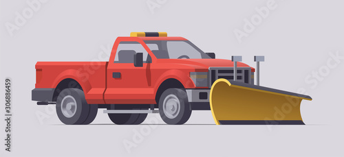 Snow plowing truck Canvas Print
