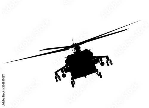 Fotografia  Helicopter detailed silhouette. Vector EPS 10