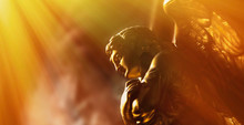 Gold Angel In The Sunlight. An...