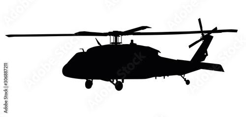 Helicopter detailed silhouette. Vector EPS 10 Obraz na płótnie