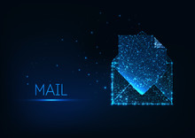 Futuristic Electronic Mail Documentation Concept With Glowing Low Poly Envelope And Paper Document.