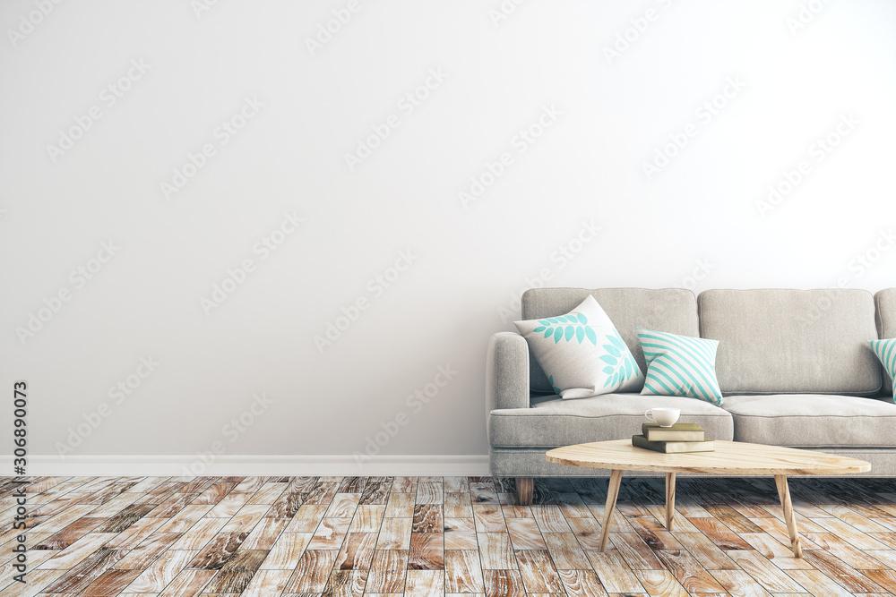 Fototapeta White concrete living room
