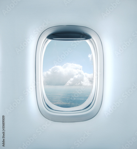 fototapeta na szkło Aairplane window with clouds view