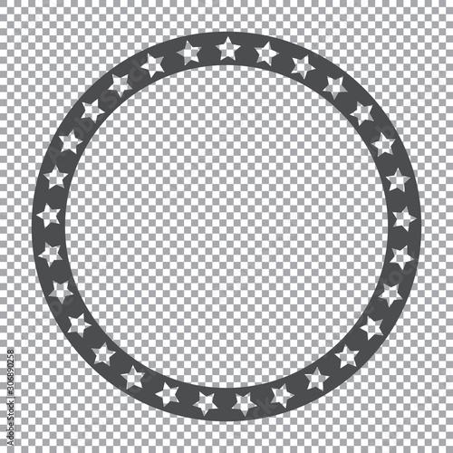 Vászonkép round stars frame on transparent background