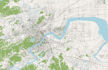 Map Of The City Of Hangzhou, China