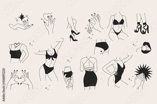 Vector trendy illustration template and icons in linear style - graceful faceless lady Poster Mural XXL
