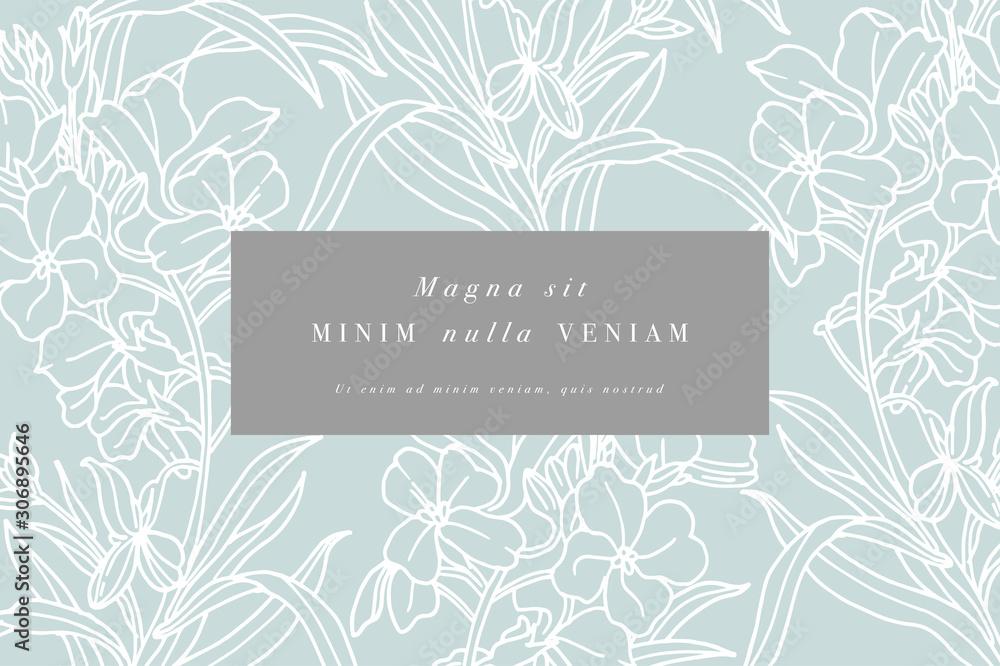 Fototapeta Vintage card with forget me not flowers. Floral wreath. Flower frame for flowershop with label designs. Summer floral greeting card