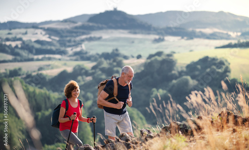 Obraz Senior tourist couple travellers hiking in nature, walking. - fototapety do salonu