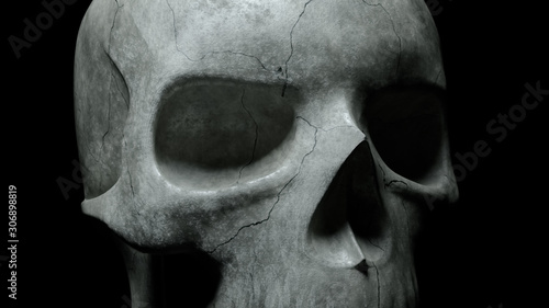 Human skull on an isolated black background Wallpaper Mural