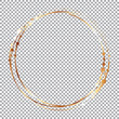 gold round brush frame on transparent background