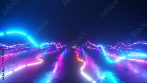 Obraz Flying over a colorful bright neon glowing graphic equalizer. World of music. Ultraviolet signal spectrum, laser show, energy, sound vibrations and waves. - fototapety do salonu