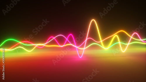 Photo Colorful bright neon glowing graphic equalizer