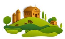 Scenic Landscape Of Farm Build...