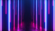 canvas print picture Endless corridor with neon lines tending down. Metal reflective scratched floor. 3d illustration. Modern colorful neon light spectrum