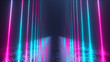 canvas print picture - Endless corridor with neon lines tending down. Metal reflective scratched floor. 3d illustration. Modern colorful neon light spectrum