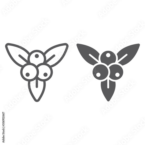 Fototapeta Juniper berry line and glyph icon, branch and growth, plant sign, vector graphics, a linear pattern on a white backgrond. obraz