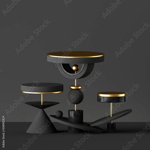 3d render, abstract minimal black background with golden elements Canvas Print