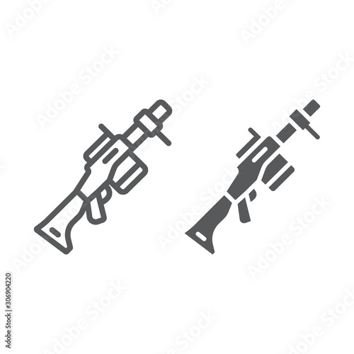 Grenade launcher line and glyph icon, weapon and rocket, bazooka sign, vector graphics, a linear pattern on a white background Wallpaper Mural