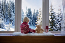 Sweet Blonde Child, Boy, Sitting On Window Shield With Teddy Bear Friend Toy, Looking At The View