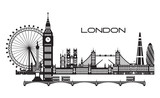 Fototapeta Big Ben - London City Skyline vector 3