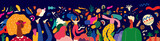 Beautiful holiday vector illustration with dancing people. Design for holiday celebration, Brazil Carnival or party