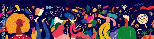 Fototapeta Beautiful holiday vector illustration with dancing people. Design for holiday celebration, Brazil Carnival or party  obraz