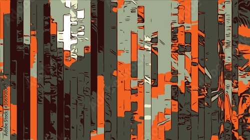 Abstract geometric background with colorful strips in 1970s style Wallpaper Mural