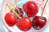 Cherry and bubbles in water