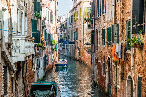 Traditional canal street in Venice, Italy