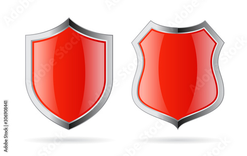 Obraz na plátně Red glass shield vector icon