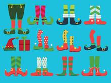 Xmas Shoes. Fairytale Elf Boots And Leggings Santa Boy Legs And Shoe Vector Christmas Collection. Illustration Elf Xmas Shoes And Leggings Costume Pants
