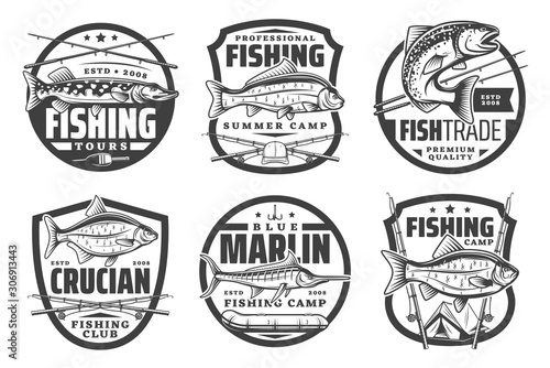 Fishing club, fisherman summer camp and big fish catch tours icons Fototapet
