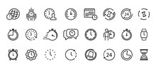 Time And Clock Thin Line Icons...