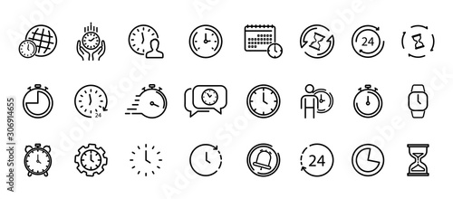 Stampa su Tela Time and Clock thin line icons