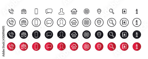 Fototapeta Set of Business Card Thin Line Icons. Contact information icons set of differents styles. Info vector symbols and signs. obraz