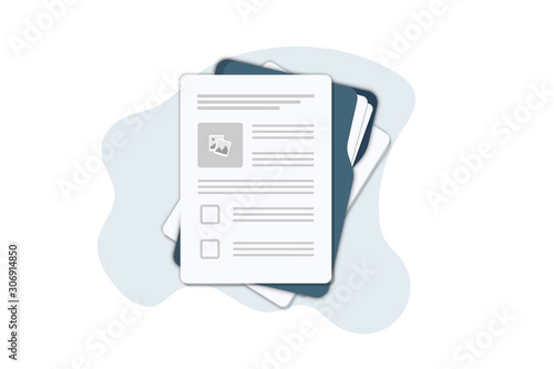 Obraz Contract papers. Document. Folder with stamp and text. Contract signing. Contract agreement memorandum of understanding legal document stamp seal, concept for web banners, websites, infographics. - fototapety do salonu