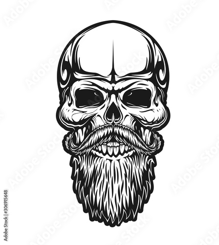 Skull with beard and mustaches, vector icon for hipster barber shop, tattoo and t-shirt print. Man skull with mustaches and beard, vintage retro monochrome outline sign for biker club