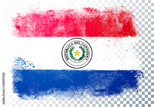 Photo Vector Illustration Grunge And Distressed Flag Of Paraguay