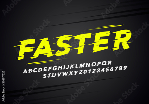 vector illustration modern sport alphabet and number font. Typography for racing and running