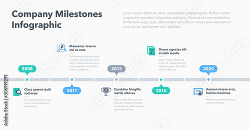 Modern business infographic for company milestones timeline template with flat icons Canvas