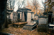 Paris, France - November 18, 2019: Graves and crypts in Pere Lachaise Cemetery, This cemetery is the final resting place for many famous people